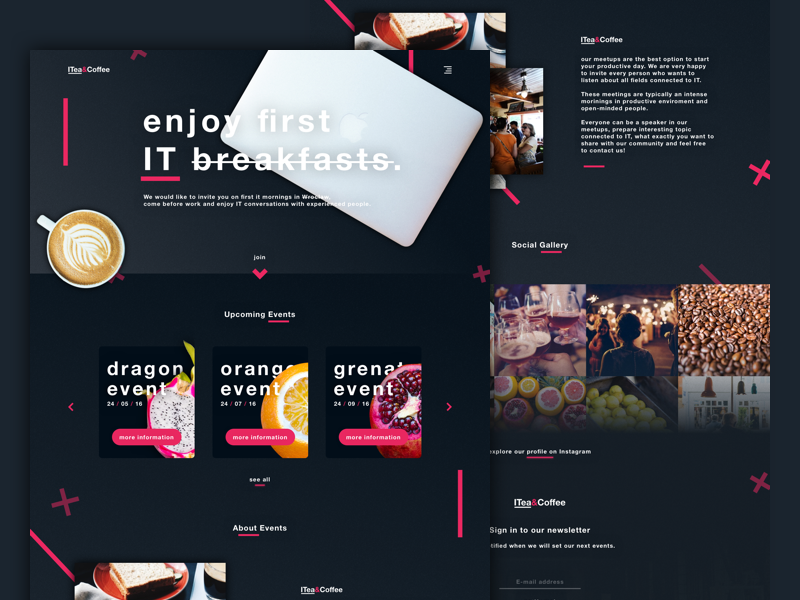 IT morning meetups - Landing Page webdesign landing page web typography ux ui minimalistic minimal dashboard app