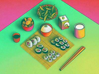 StillHereStillLife Week 13 drawing illustration procreate table plate bowl sushi roll mat can vibrant neon chopsticks sushi rice soy sauce fruit citrus beans edamame still life