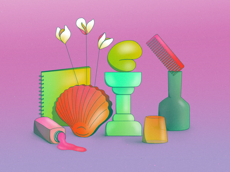 StillHereStillLife Week 18 shiny still life abstract minimal statue pillar brush comb cup jar notebook blob neon shell spill flower vase gradient procreate illustration