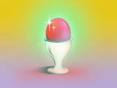 StillHereStillLife Week 24 eggcup tableware server texture sparkling neon procreate illustration still life surreal abstract glow gradient shine shiny sparkle dish food cup egg