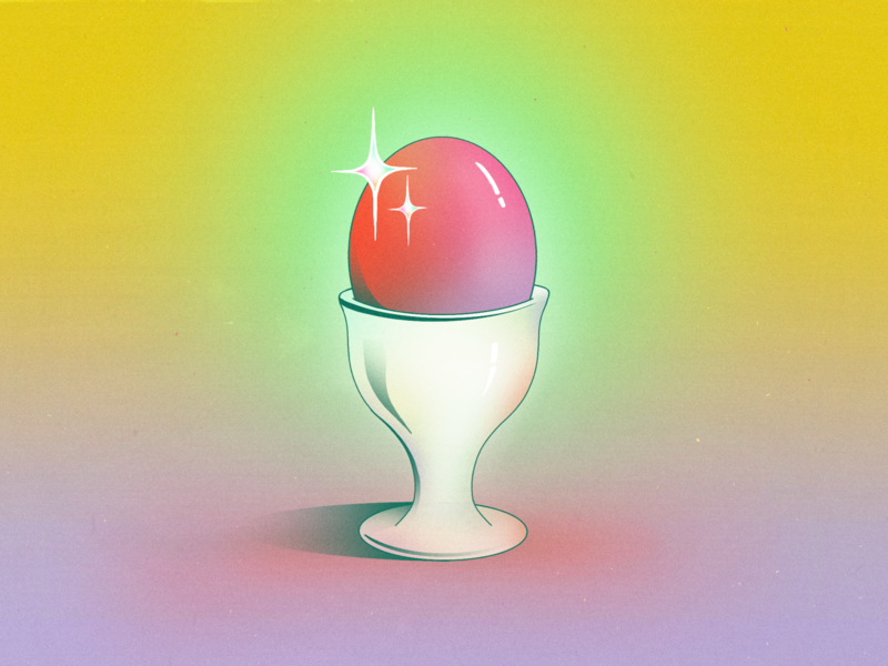 StillHereStillLife Week 24 eggcup tableware server texture sparkling neon procreate illustration still life surreal abstract glow gradient shine shiny sparkle dish food cup egg