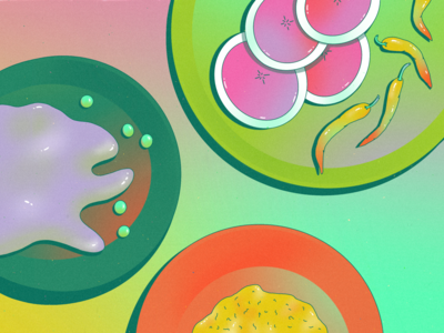 StillHereStillLife Week 23 jalapeno glow table surreal shiny shine procreate neon stilllife dinnerware garbanzo chickpea daikon watermelon radish dinner plate hummus spicy peppers