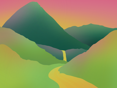 I wish I could live here pt. 1 nature travel abstract sunrise mountains woods sunset illustration hills river waterfall vista mountain gradient procreate landscape minimal