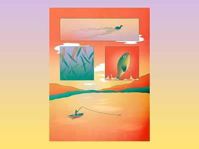 Lake Time Serenity cattail dream minimal procreate illustration gradient neon dreamy jump fish clouds mountains wake duck lake boat fishing serene panel comic