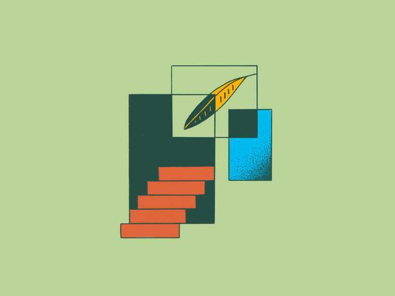 ❕Overlapping Dimensions ❕ overlap dimension foliage gradient leaf plant procreate illustration stairs portal
