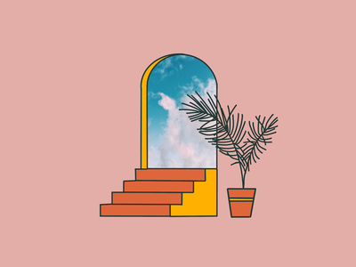 Portal illusion digital drawing procreate clouds mixed media mixmedia illustration doorway palm planter plant staircase stairs window portal
