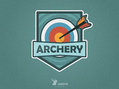 Archery - Badge archery sport badge typography vector logo illustration design weeklywarmup challenge