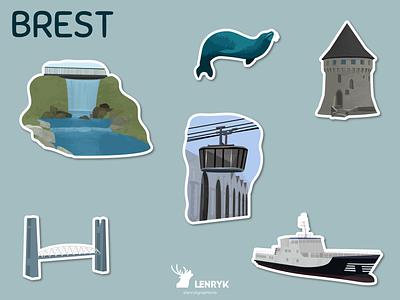 Brest - Stickers stickers vector logo illustration design weeklywarmup challenge