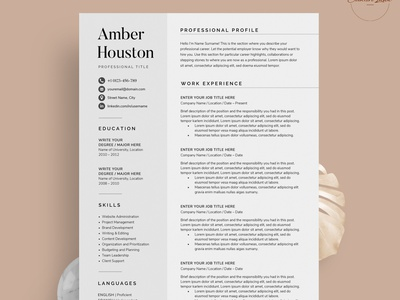 Resume/CV minimal modern resume cv job cv resume template resume design resume clean resume free download cv template cv design cover letter clean