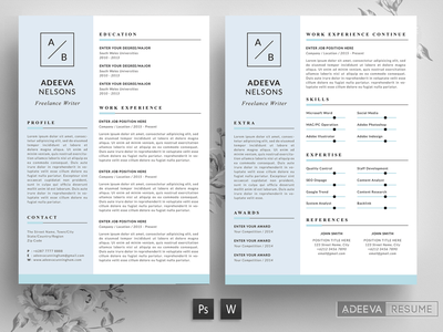 Simple Resume Template Nelson advertising branding lookbook fashion minimalist clean professional modern catalogue catalog magazine template print design printing printable print indesign adobe us lettter a4