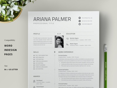 Resume Template / Cover Letter advertising branding lookbook fashion minimalist clean professional modern catalogue catalog magazine template print design printing printable print indesign adobe us lettter a4