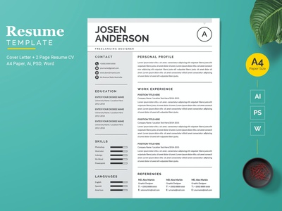 Modern and Clean Resume / CV Template resume clean cv design cover letter job cv job minimal modern cv letter clean simple resume resume template resume design resume professional modern resume free minimal resume cv template