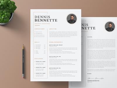 Modern CV Resume & Cover Letter modern minimal logo illustration design resume template resume design cv design cover letter resume cv template clean