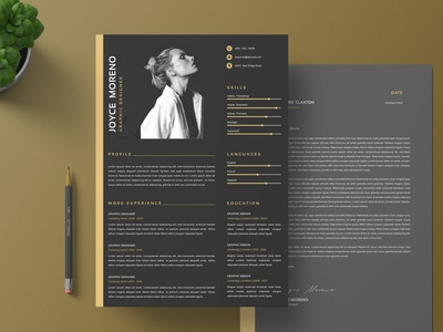 Executive Resume & Cover Letter Template illustration design resume template resume design branding logo motion graphics graphic design 3d animation cv design resume cv template clean cover letter cover