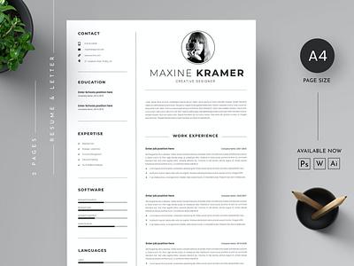 CV Resume & Letter cover Template branding motion graphics graphic design 3d animation ui logo illustration design resume template resume design cv design resume cv template clean cover cv cover letter