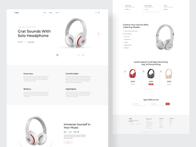 Headphone Product Landing page product landing page uiux graphic design clean design website minimal landing page web clean website product designer headphone product design product page product website