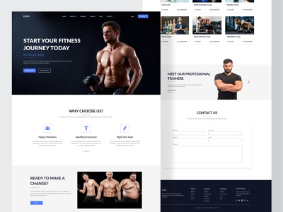 Fitness and Workout Trainers Website yoga workout gym clean minimal uidesign popular web design webflix web ux ui landing fitness website