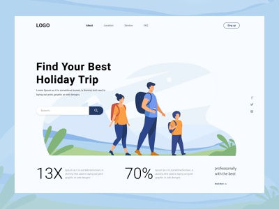 Travel & Trip Landing Page typography illustraion best website popular 2021 webflix uiux ux ui clean website minimal web design header landing agency trip website travel web