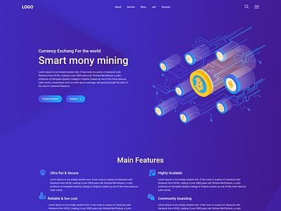 Cryptocurrency Website & Landing Page agency new 2021 best web best website modern popular blue app logo design ux ui minimal web clean website uiux landing page website cryptocurrency