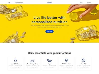 Ritual - Medicine Product Website doctor health medicine medical logo illustration ui design uiux clean website ux minimal web website