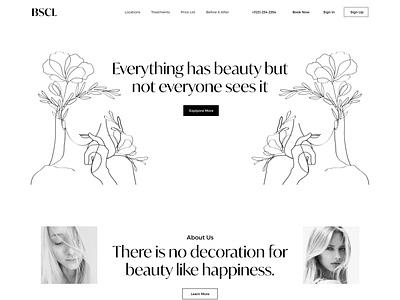 BSCL Skin Clinics Beauty Website product shop art homepage layout clean web cosmitics landingpage skincare skin beauty design uiux ux clean website ui minimal web website