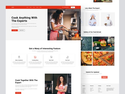 Cooking Website & Landing Page drink home food chef tasty culinary eat recipe dish kitchen cook bakery design uiux clean website ux ui minimal web website