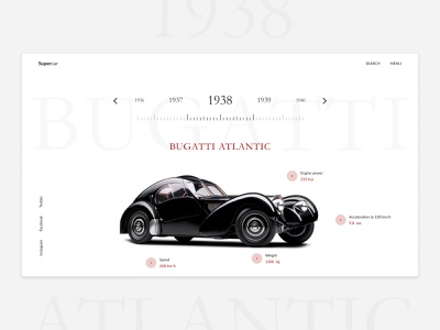 SuperCar website typography web ui minimal design