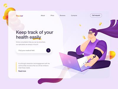 Telehealth Tracker Design branding track application medical welcome page tracker solution telehealth desktop web design app design healthcare health app design ui uiux