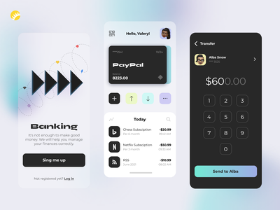 Banking app design concept managment interface user interface user friendly transfer money payment credit card tool banking concept finance personal financial application ux app design ui design app