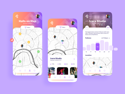 FreeHall App graph chart diagram naming trainings room mobile search dance map ui ux design