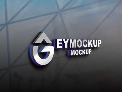 Steel Led Effect 3D Logo Mockup web icon ux ui vector logo business branding design mockup