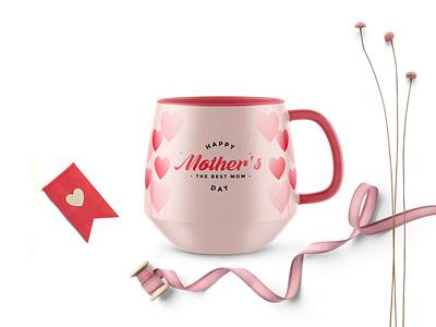 Pink Mother's Day Coffee Mug Mockup psd coffee mockup label mug mother pink