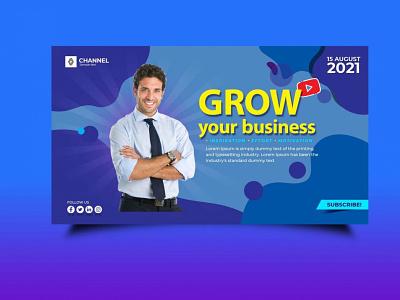Business Startup Banner Mockup logo graphic design animation illustration design psd 2020 2021 best latest banner mockup youtube poster banner branding company mockup startup business