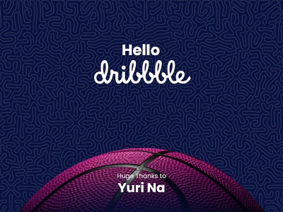 Hello Dribble | Thank You Card debut shot first shot thank you card thank you pattern vector debut hello dribbble hello basket basketball