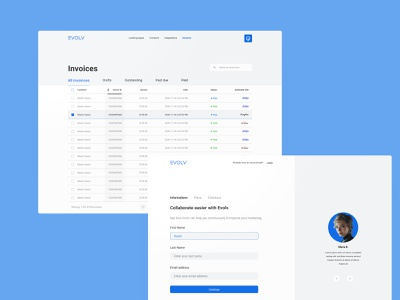 Evolv Template Design ui onboarding table