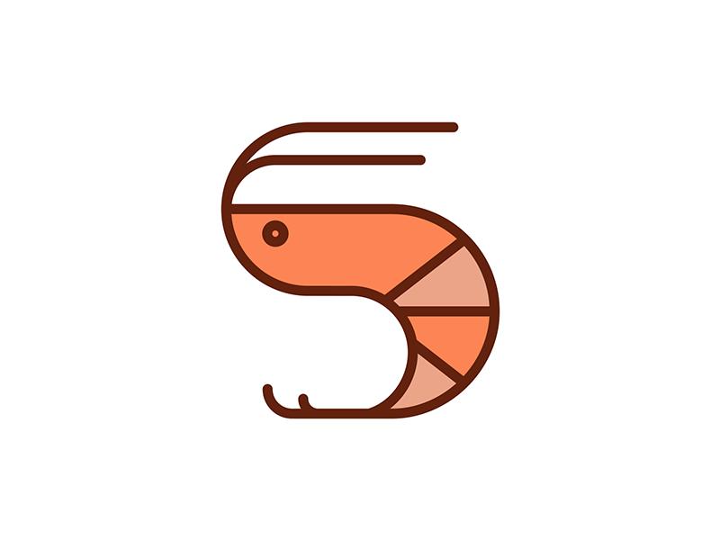 Shrimp icon vector ux ui illustrator ocean minimal icons graphic design icon design icon