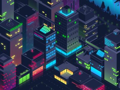 Isometric City neon gradient illustrator illustration graphic design graphic vector isometric