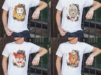 Watercolor Animal Grunge T-Shirt Design