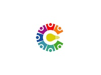 Coworking People Vector Colorful Logo