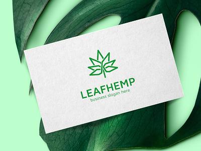 Hemp Leaf Cannabis Logo logo design design brand weed template simple seed sativa marijuana logotype logo hemp cbd logo cannabis leaf
