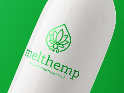 Melt Hemp Natural Marijuana Oil Logo Cannabis Leaf and Drop monogram brand identity weed visual identity treatment thc template seed sativa marijuana logotype logo cbd cannabis leaf