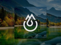 Mountains and Drop and Letter M Logo Concept