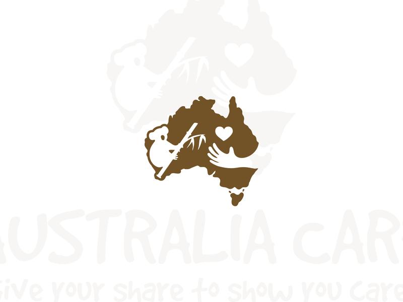 Australia Care Logo branding template non profit organization logotype logo koala bear helping hand helping center help heart hand giving love logo design charity foundation care australian australia map australia care