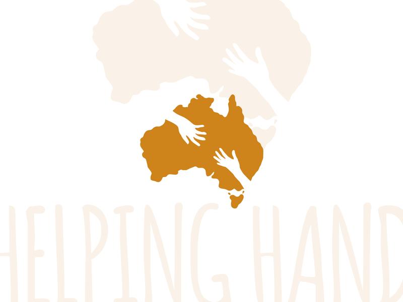 Helping Hand to Australia identity template vector helping hand hands logo design care australian charity logo australian australia map australia logotype logo