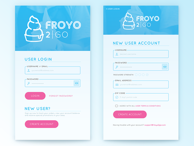 FroYo 2Go App Login/Signup dailyui001 whimsical modern clean conceptual signup mobile app ui