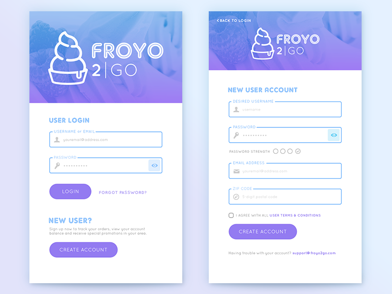 FroYo 2Go App Login/Signup (updated) dailyui001 form signup mobile ui app