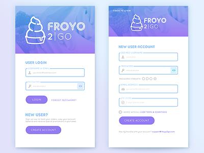 FroYo 2Go App Login/Signup (updated) dailyui001 form signup mobile ui app