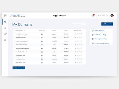 Register.com Dashboard Redesign (concept) clean saas dashboard ui