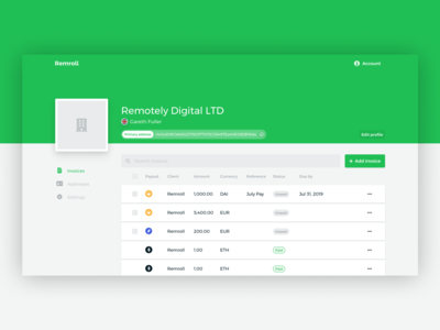 Remroll contractor dashboard
