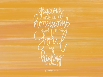 Honeycomb yellow watercolor typography procreate hand lettering bible verse